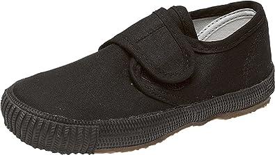 8341a104e8df School Uniform Kids Velcro Plimsolls Gym Shoes-Black-Childrens Size ...