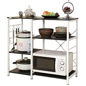 "DlandHome Microwave Cart Stand 35.4"", Kitchen Utility Storage 3-Tier+3-Tier for Baker's Rack & Spice Rack Organizer Workstation Shelf, 171-B Black, 1 Pack"