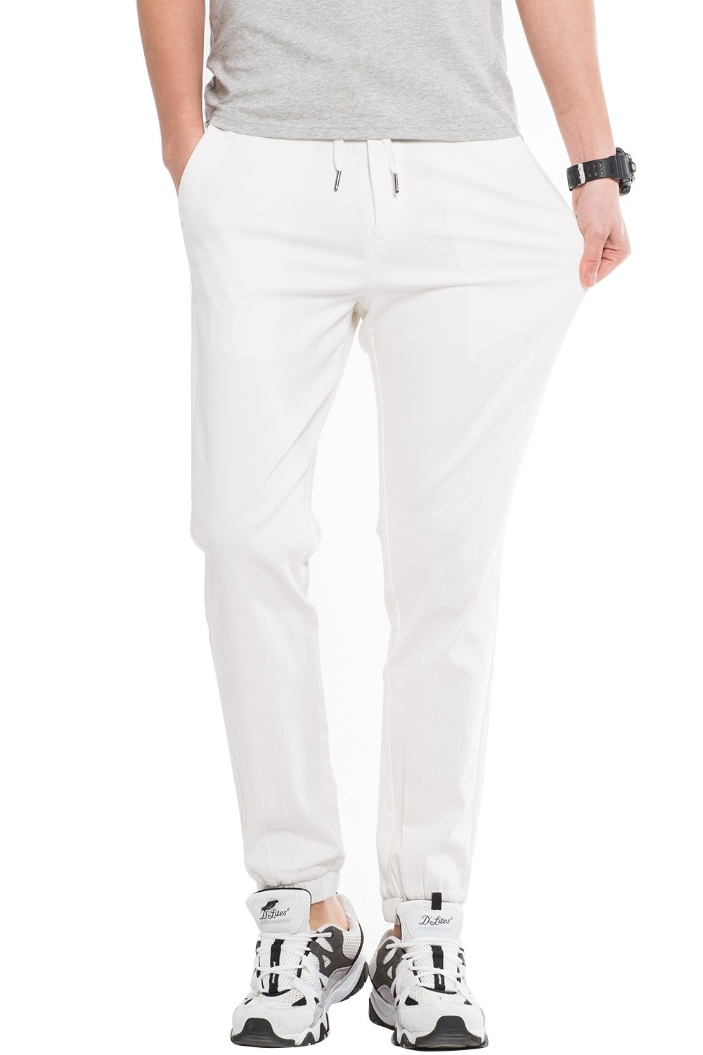INFLATION Men's Stretchy Casual Jogger Pants  Blend Combed Cotton Formal Elastic Waist Trousers Dress Pants White US SIZE L by INFLATION (Image #4)