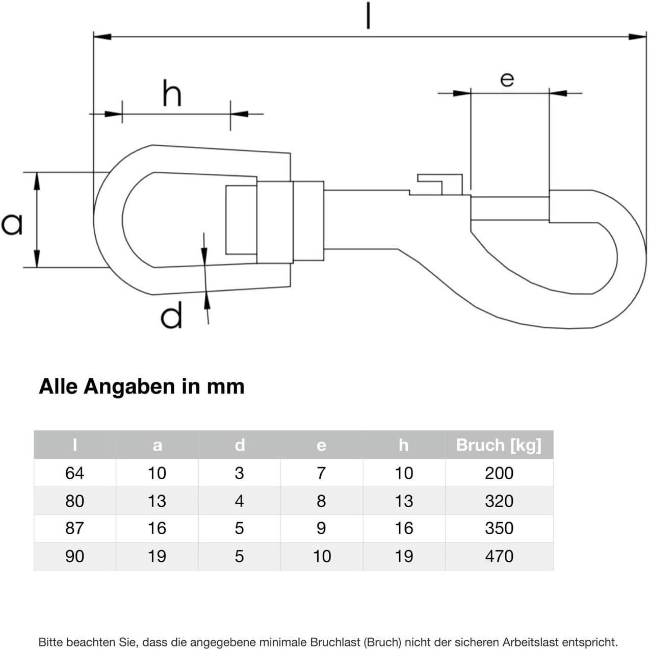Wirbelkarabiner Edelstahl V4A Inox Augwirbelhaken Bolzenkarabiner drehbare /Öse 1, 87 x 16 mm