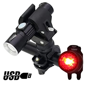 d1f66081b6aa WitTorch Bike Lights USB Rechargeable Bike Light Set Super Bright Bicycle  light, Zoomable Mountain Bike