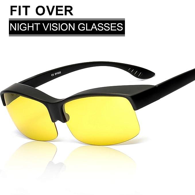 SIPHEW Ajuste Durante la Noche Gafas de Conducción, Use Over Rx/Prescripción / Gafas Regulares - Envuelva Alrededor de Las Gafas de Sol Amarillas ...