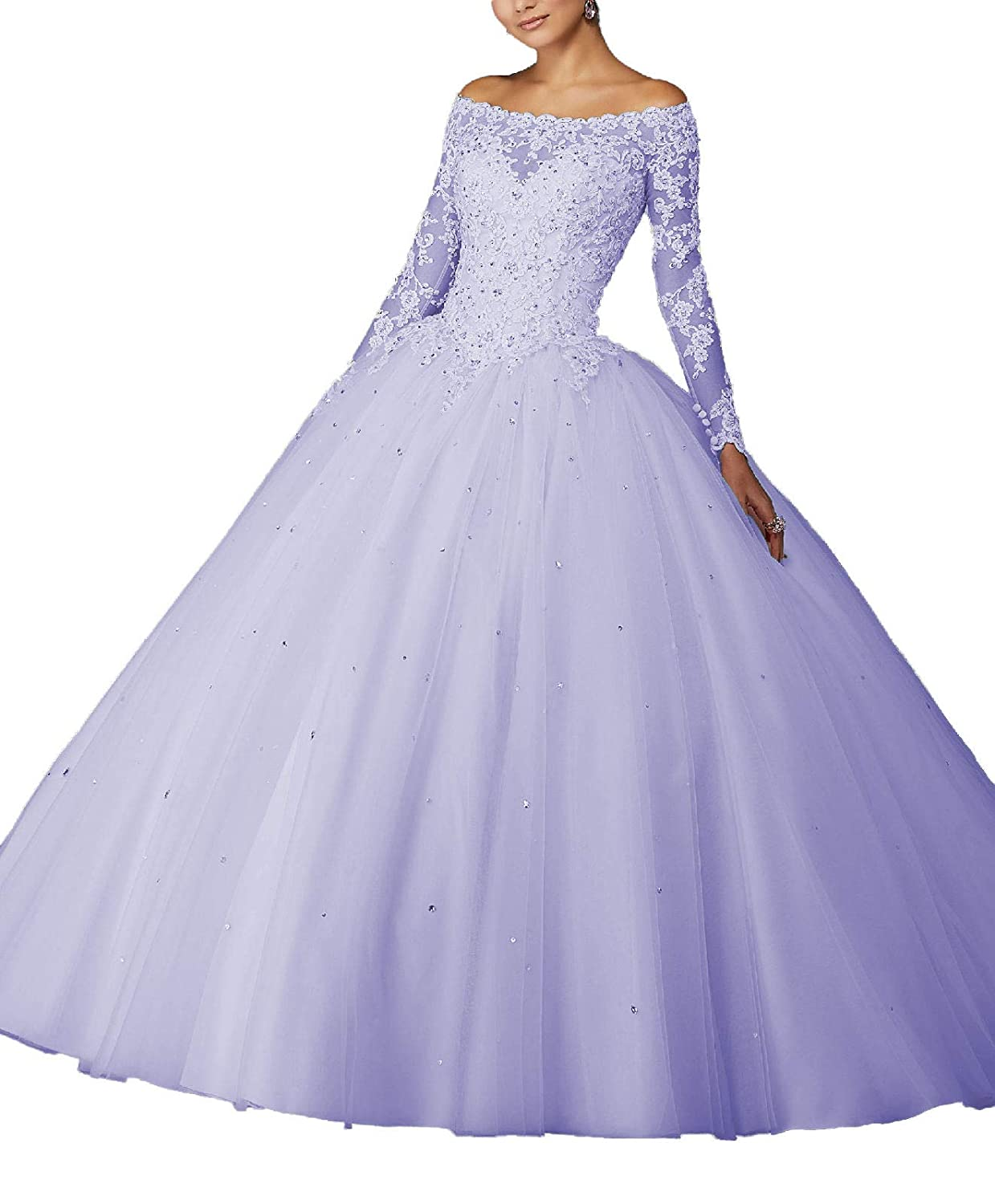 purplec Yisha Bello Women's Off The Shoulder Lace Applique Pro Ball Gowns Long Sleeve Beaded Quinceanera Dresses for Sweet 16