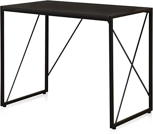 Seatingplus Home Office Computer Desk, Black Wood Writing Table to Study, Sofa Bed Table with Sturdy Steel Frame and Waterproof Top HJ170570BK