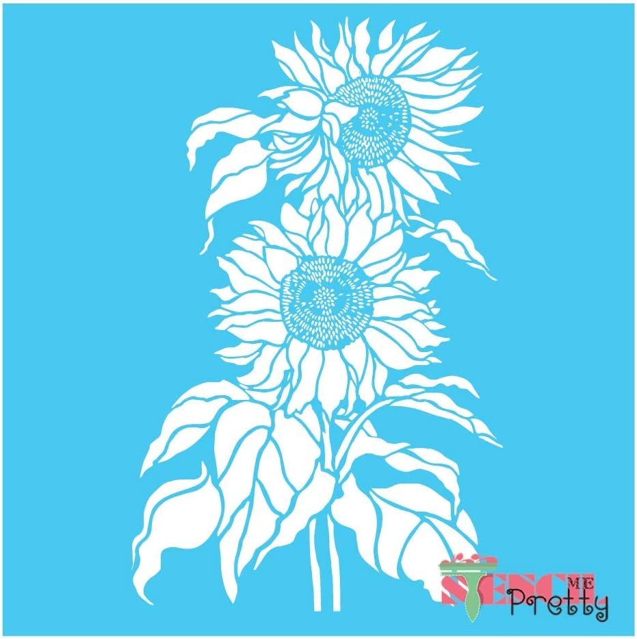 """Sunflower Duo - DIY Craft Stencil Best Vinyl Large Stencils for Painting on Wood, Canvas, Wall, etc.-XS (7.5"""" x 12"""")