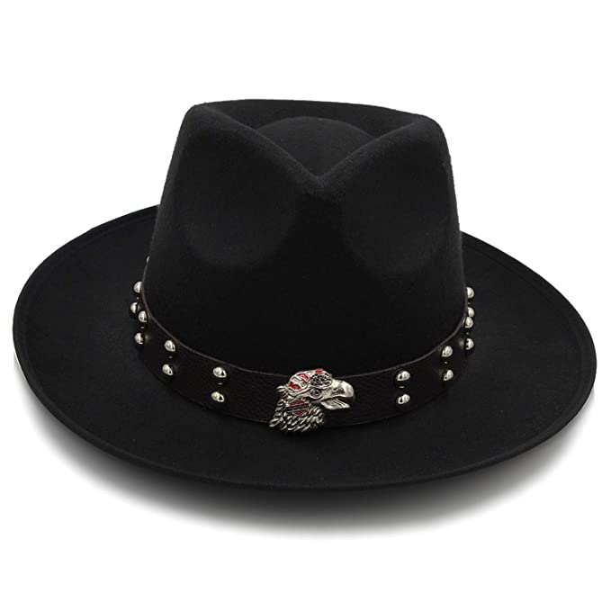 0c110799dba Fashion Felt Fedora Hat Winter Autumn Chapeu Feminino Jazz Hat Gentleman  Sombrero Dad Hat Eagle Punk