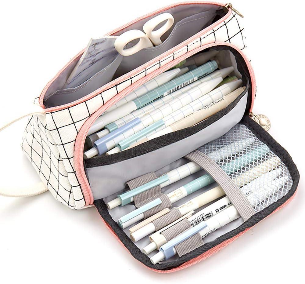 Estuche Escolar Niña, Yigou Multifuncional Estuche de lápices de Gran Capacidad Bolsa de Lona Bolsa de lápiz Maquillaje Organizador de Papelería para útiles Escolares y Oficina (Blanco)