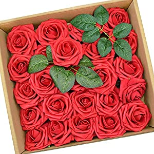 PETAFLOP Rose Flowers Artificial Flowers Wedding Flowers Red Fake Rose, 25 Pieces 57