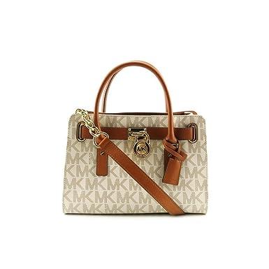 Michael Kors EW Satchel Women s MK Logo Handbag Tote Purse White ... cb07c781b9