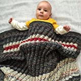 Chunky Knit Baby Blanket, Toddler Blanket, Gray, White, Red, Striped, Wool Blend