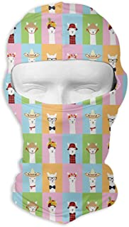deyhfef Colorful Llama Invasion Balaclava UV Protection Windproof Ski Face Masks for Cycling Outdoor Sports Full Face Mask Breathable