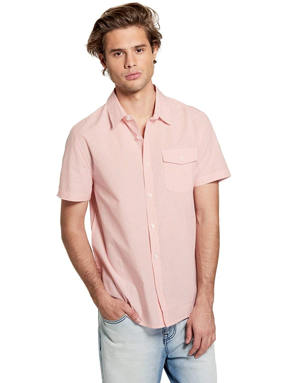 GUESS Factory Mens Miles Striped Shirt