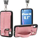 Toovren iphone xr ケース 手帳型 カード収納 ストラップ スタンド アイフォンケースxr カバー スマホケース 紛失/落下防止 滑り止め 多機種対応 ピンク