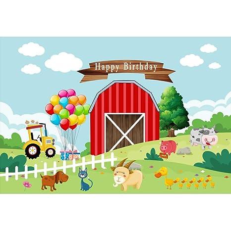 Cassisy 1,5x1m Vinilo Cumpleaños Telon de Fondo Feliz cumpleaños Bandera Animales de Granja Cerca de Madera Fondos para Fotografia Party bebé Infantil ...