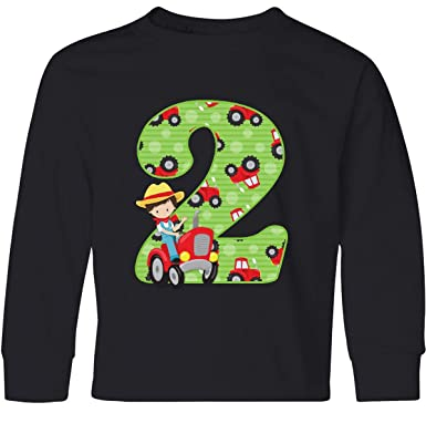 2b64c97a5 Amazon.com: inktastic - Tractor Boy 2nd Birthday Youth Long Sleeve T-Shirt  34a37: Clothing