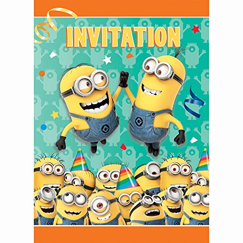 Minions Costume Party City - Despicable Me Minions Party Invitations, 8ct