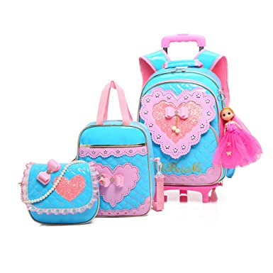 Zhuhaitf Three-piece Cute Princess with Wheels Rolling Backpack for Girls for School