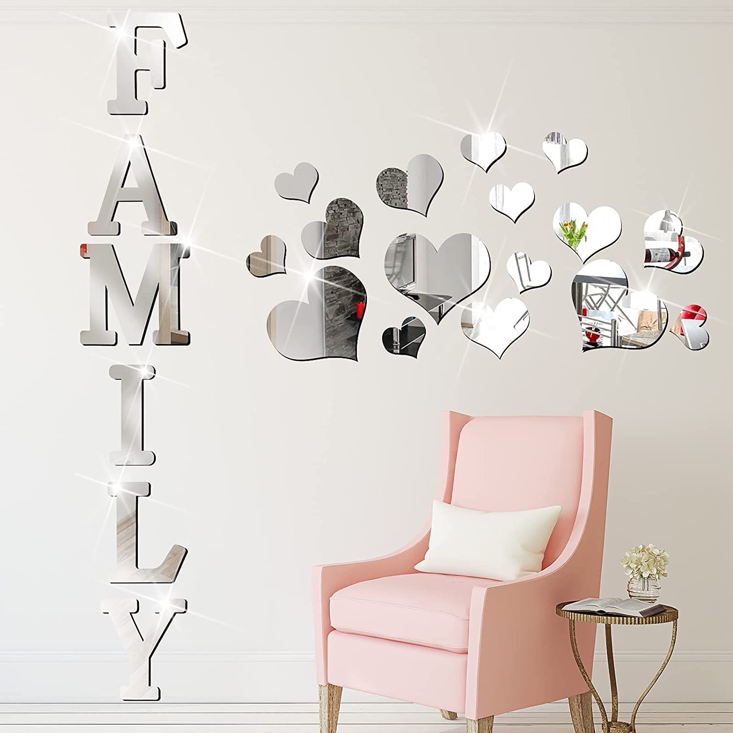 21 Pieces Acrylic Mirror Wall Decor Stickers Include Family Letter Sign Wall Stickers and Heart Shaped 3D Mirror Decals Removable DIY Mirror Wall Stickers for Home Living Room Bedroom Farmhouse Decor