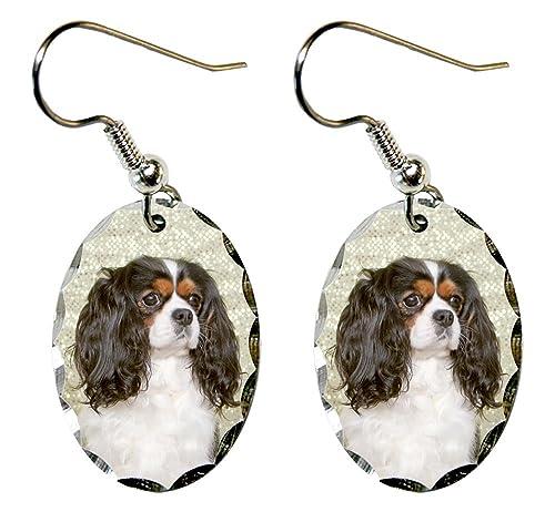 Canine Designs Cavalier King Charles Spaniel Scalloped Edge Oval Earrings