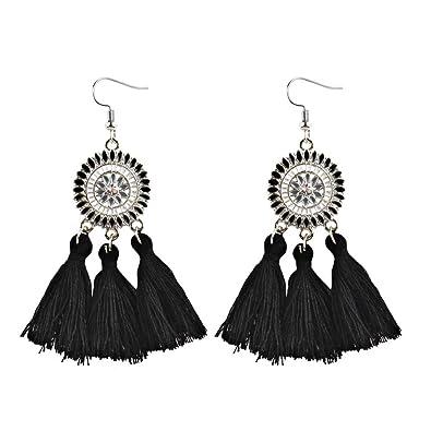 juler Ornements Vintage Plumes Glands Boucles doreilles Longs Modèles en Alliage Boucles doreilles Cadeaux,Noir,Taille Unique Femme
