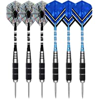 theirsova 22 Grams Steel Tip Darts Set - 6 Pack Professional Metal Tipped Darts Kit with Stainless Steel Barrel, Unbreakable Aluminum Shafts, 2 Style Flights, Drawstring Storage Bag, Well Balanced