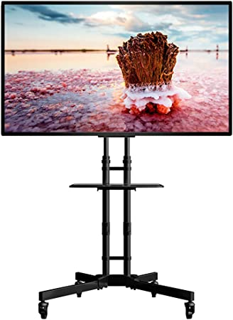 Caja de laminación para TV de TV móvil con Ruedas de 32 a 65 Pulgadas LCD de Panel LED de Pantalla Plana de Plasma de Altura Ajustable oficinas en casa, aulas: Amazon.es: