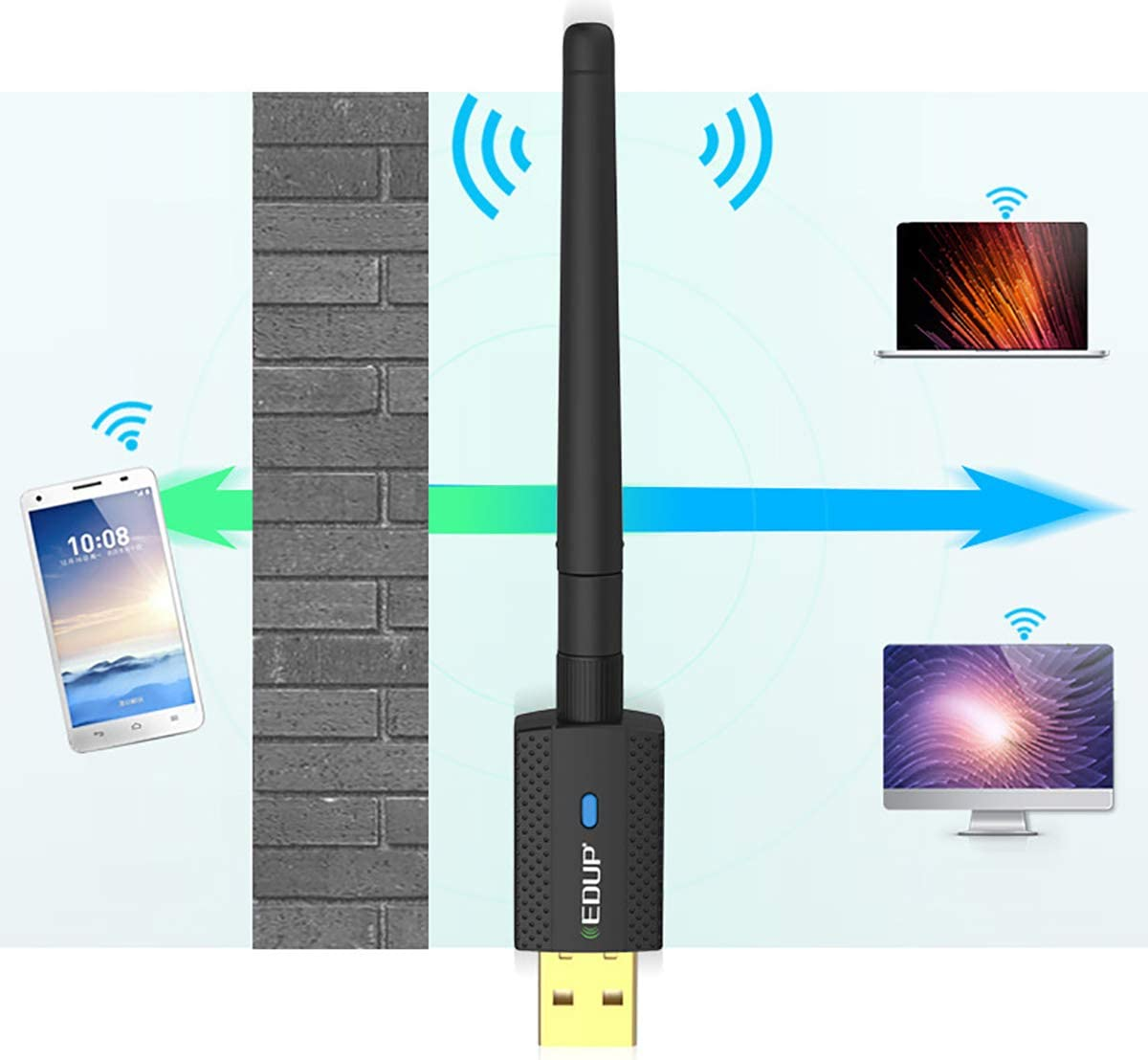 2.4-5.8GHz,Anti-Interference,Dual-Band,for Windows XP//7//8//8.1//10 Black ZUEN Network Card,600M Wireless Network Card Free Drive USB Bluetooth 4.2 WiFi Receiver