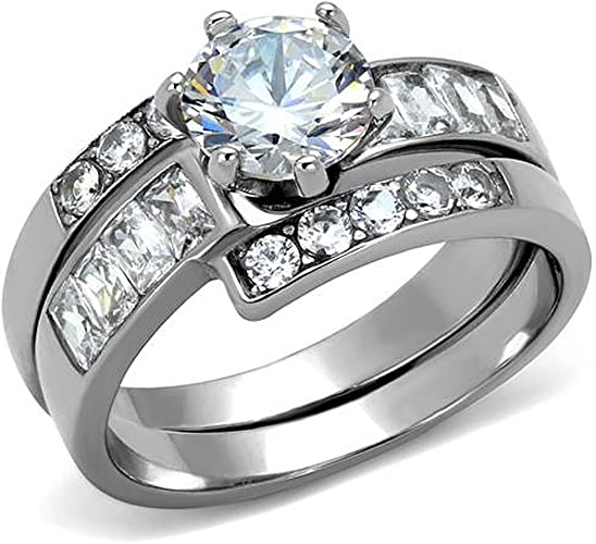Solitaire w Accents Engagement Ring Cubic Zirconia Stainless Steel Wedding Band