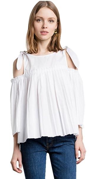 Moda Cold Open Shoulder Hombros al Descubiertos Aire Manga 3/4 Trapecioe de Vuelo Plisado Picardias Blusón Blusa Camisero Camiseta Camisa Top Blanco: ...