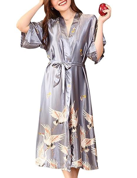 Pijama de seda para las Mujeres atractivas, grúa de impresión, pijama lazo correas camisón