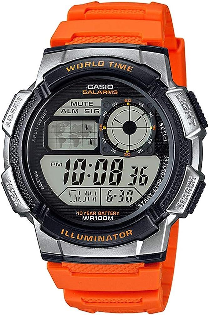 Casio – Reloj casual de resina para hombre con mecanismo de cuarzo, 10 años de batería, color naranja, modelo AE-1000W-4BVCF