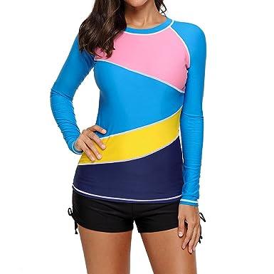 4f6422cb6546a Hibote Women's Swim Shirt Tankini Top, Elegant Plus Size Long Sleeve UV Shirt  Swimsuit Swimwear
