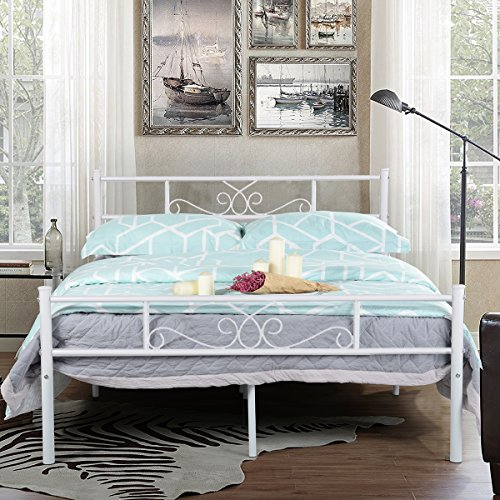 tal Bed Frame with Headboard and Footboard Mattress Foundation Platform Bed No Box Spring Needed White (Full Size Metal Bed Frames)