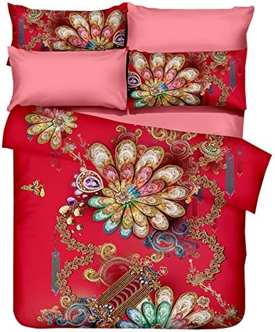 hyukoaカラフル寝具セット中国スタイル寝具Chinoiserie寝具布団カバーセット枕カバー掛け布団なし Twin 3PC no Quilt HUSMN180701STQ3
