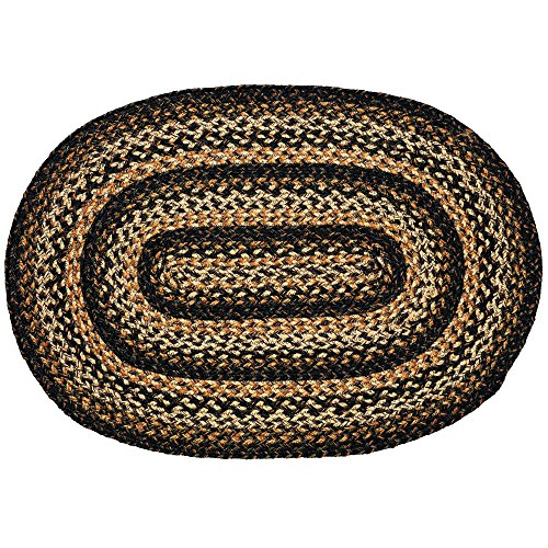 (IHF Home Decor Oval Braided Area Rug Black Forest Design 6' x 9' Feet)