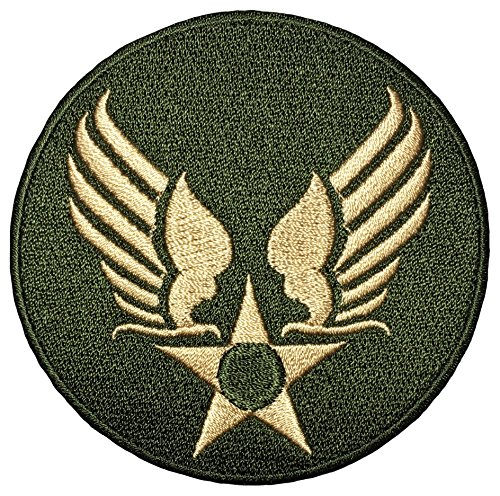 US Air Force Army Military Jacket Vest Star Wing Sew Iron on Logo Emblem Embroidered Badge Sign Costume Patch - OD Gold (US-AIR-FORCE-WING-ODGL)