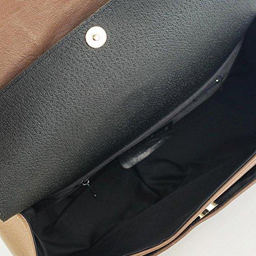 COSTANZA Borsetta pochette a spalla grande in pelle trapuntata tracolla catena e pelle oro chiaro pelle liscia morbida Grande Nero