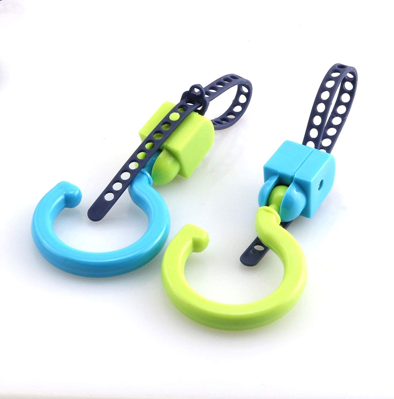 JCBIZ 2PCS Hanger Hook 360 Degree Rotate Swivel Baby Stroller Hooks Hanging Pram Cart Holder Clips Accessories Multi Purpose Blue+Green