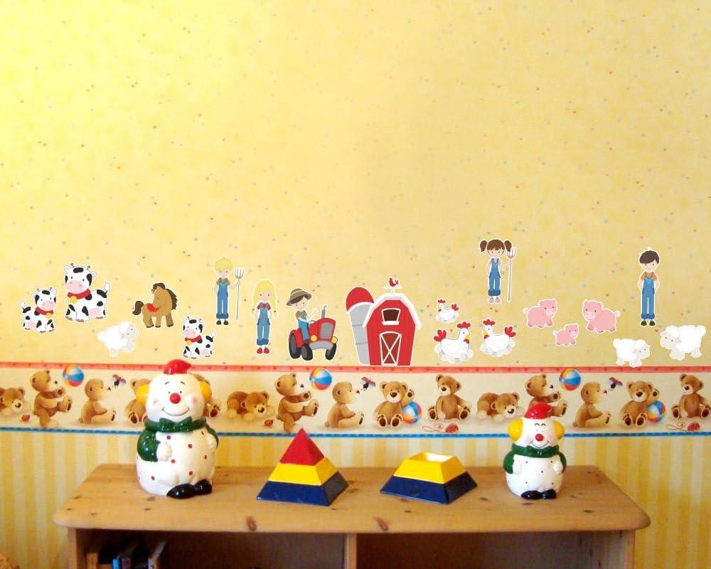 Samunshi/® 20 Pi/èces ferme de cheval vache tracteur sticker mural cochon pour chambre de b/éb/é 2x 16x26cm