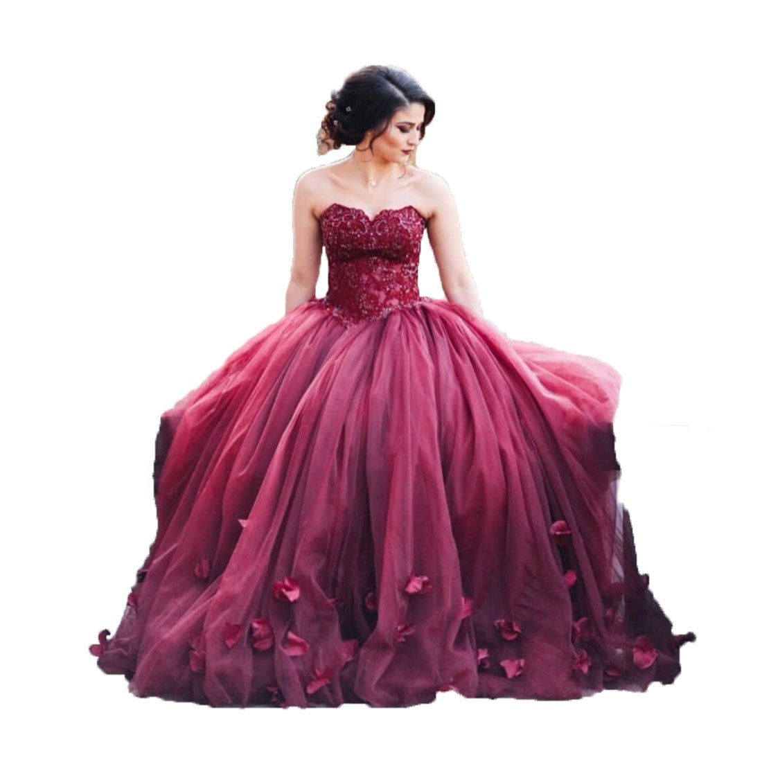 Uryouthstyle 2017 Strapless Quinceanera Ball Gowns Lace Prom Dresses US18w Red