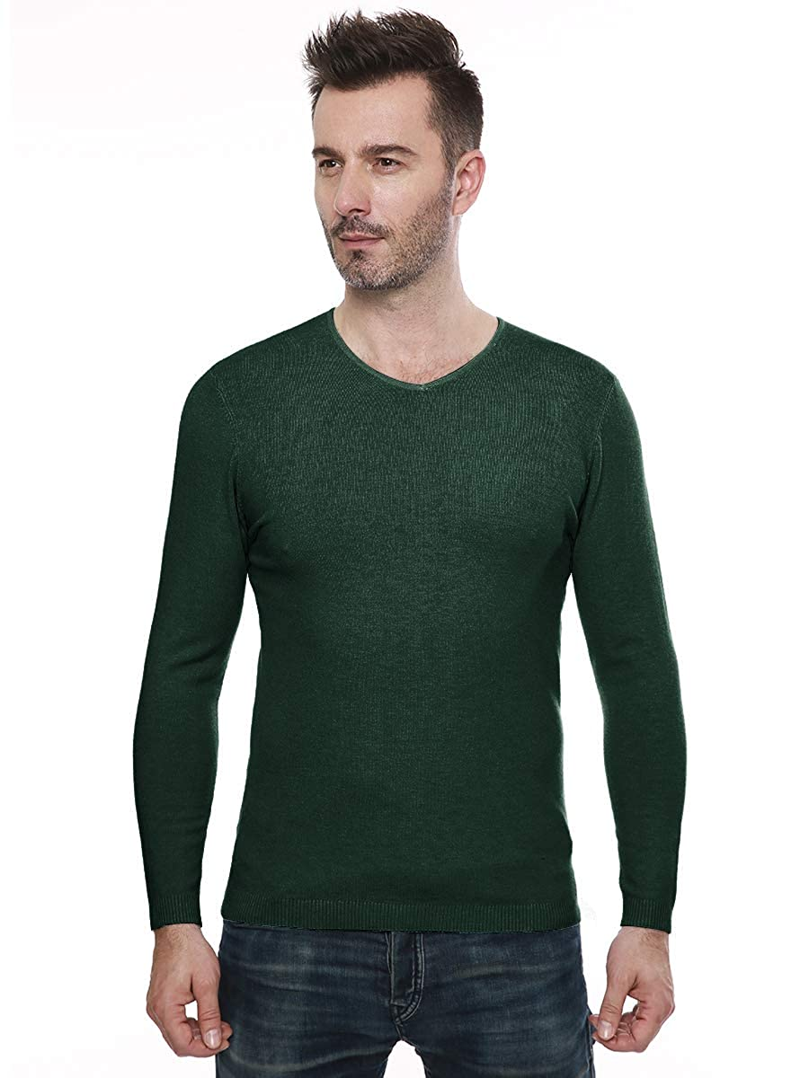 MOCOTONO Mens V-Neck Long Sleeve Pullover Casual Sweater