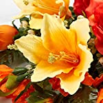 Factory-Direct-Craft-Orange-and-Yellow-Poly-Silk-Mixed-Rose-Lily-and-Gladiolus-Half-Bush-for-Memorials
