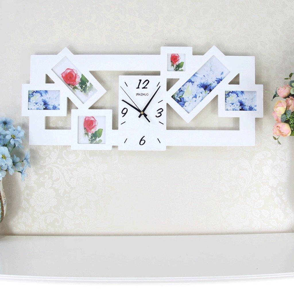 時計パーソナリティ時計大きな写真フレームの壁時計ファッション創造的な壁テーブルリビングルームベッドルームガーデンウォールクロック20インチ(直径50.5センチメートル) (色 : 白) B07F225VZK 白 白