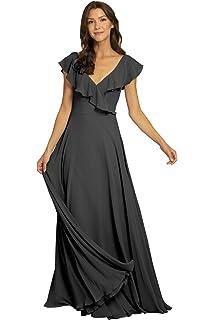 YORFORMALS Womens V-Neck Chiffon Bridesmaid Dress Long Ruffle Neckline Formal Evening Gown