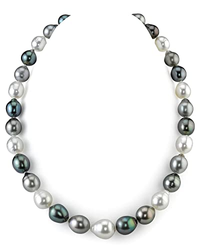 14K Gold 9-12mm Tahitian & White South Sea Multicolor Baroque Cultured Pearl Necklace - AAA Qual...