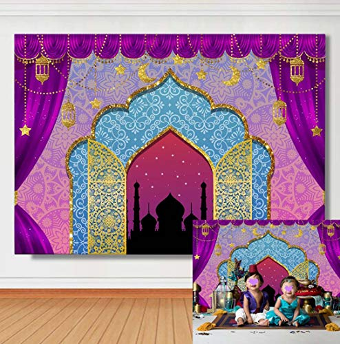 TJ Arabian Nights Moroccan Theme Photography Background Magic Genie Indian Purple Luxurious Kids Birthday Party Decoration Photo Backdrops Baby Shower Studio Booth Props Banner 7x5ft Vinyl