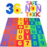 NON-TOXIC 36 Piece ABC Foam Mat - Alphabet & Number Puzzle Play & Flooring Ma...