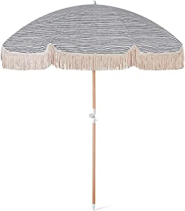 JFFFFWI Creative 2m Round Parasol Small Outdoor Sun Umbrella Beach Patio Tassel Wooden Parasols with Tilt Function, Waterproof and UV Protection