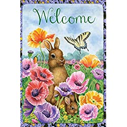 Toland Home Garden Bunny Poppies 12.5 x 18 Inch Decorative Spring Poppy Flower Easter Rabbit Welcome Garden Flag
