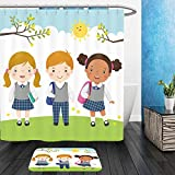 Vanfan Bathroom 2 Suits 1 Shower Curtains & 1 Floor Mats vector illustration of three kids in school uniform going to school 406350043 From Bath room